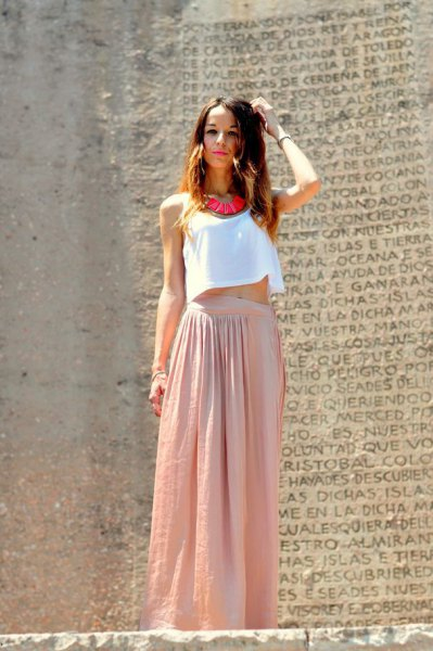 white short vest top with blushing pink maxi skirt made of linen