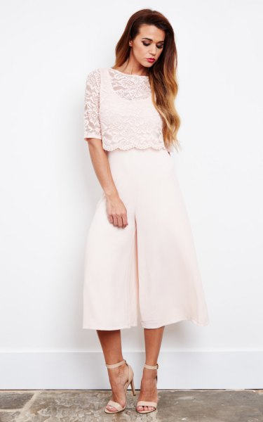 white culotte jumpsuit lace top overlay