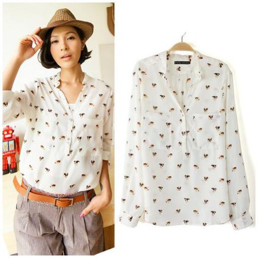 white cute animal print collarless shirt straw hat