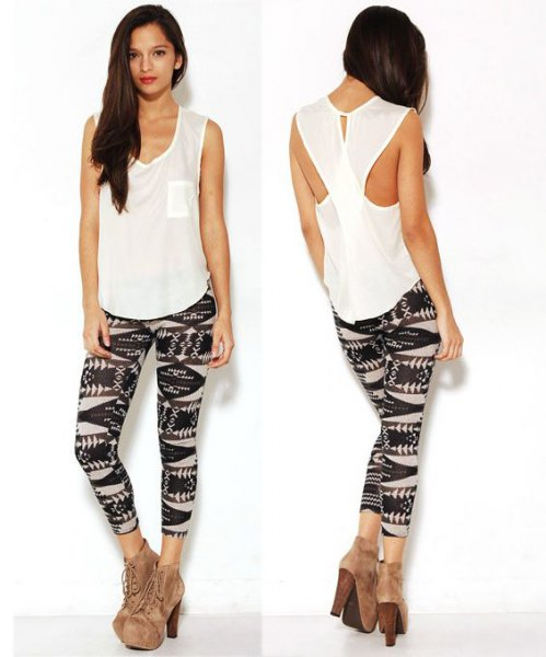 White cut out tank top with black printed leggings
