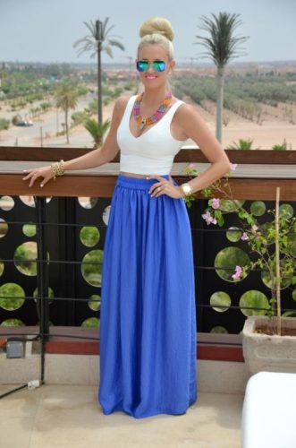 white, short vest top with deep V-neck and maxi skirt