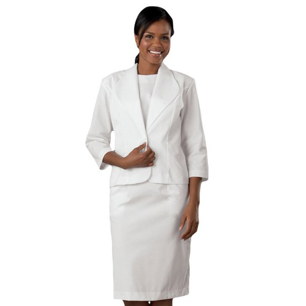 white suit with white t-shirt with round neck