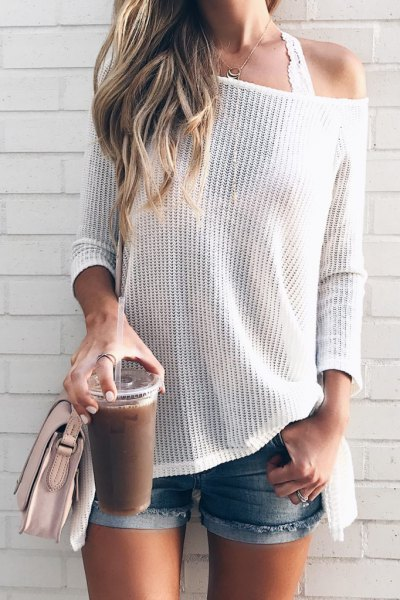 white drop shoulder knitted sweater lace bralette