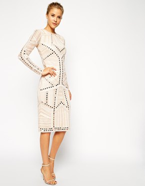 white decorated knee-length shift dress