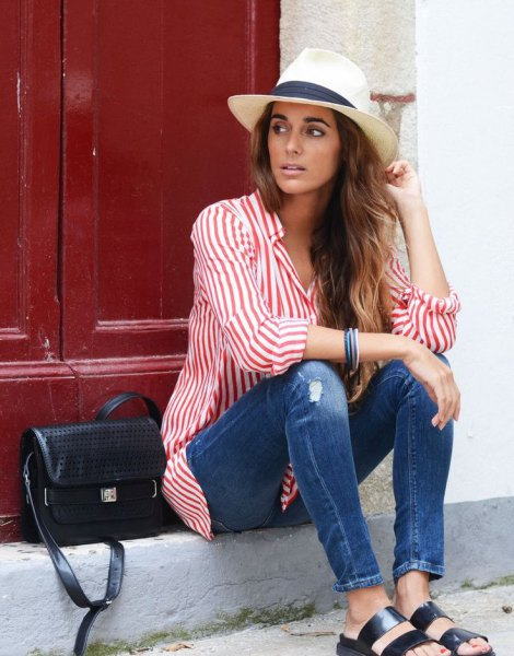 white felt hat striped shirt skinny jeans