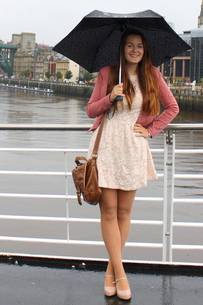 white cut and flared mini dress with blushing pink cardigan