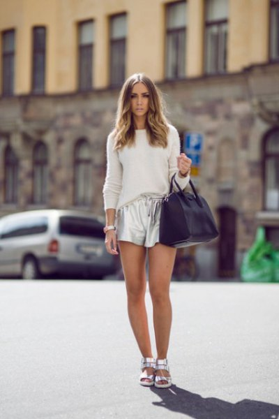 white, tailored knitted sweater with silver metallic shorts