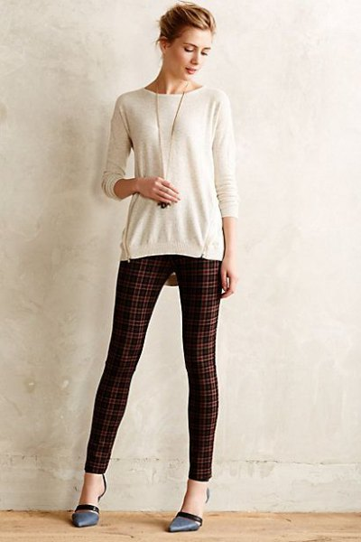 white cut sweater green and black plaid ponte trousers