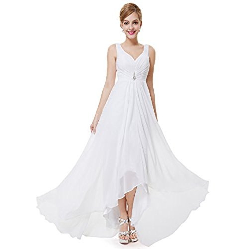 white floor-length chiffon flare dress