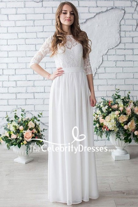 White Floor Length Lace Prom Dress With Half Sleeves .