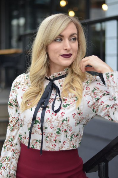 white floral blouse with black bow