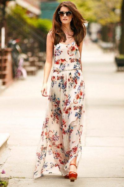 white chiffon maxi dress with floral pattern and brown heels