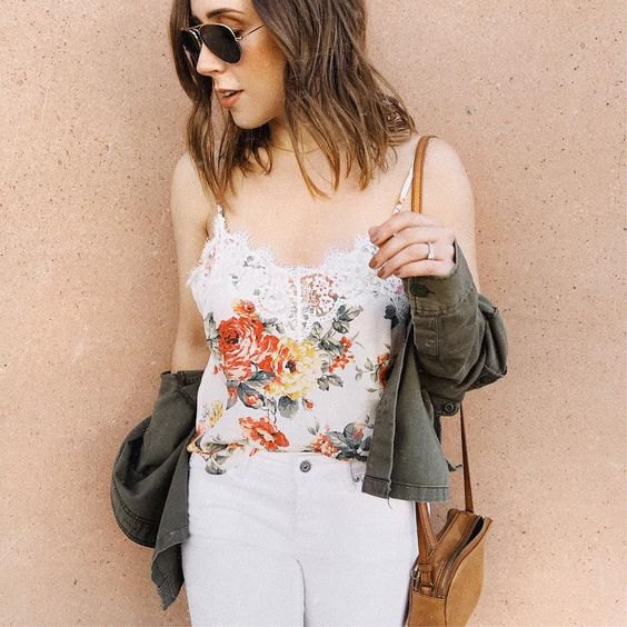 white, embroidered tank top with floral embroidery and skinny jeans