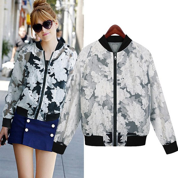 white, flower-embroidered, semi-transparent casual sports coat with a blue denim skirt