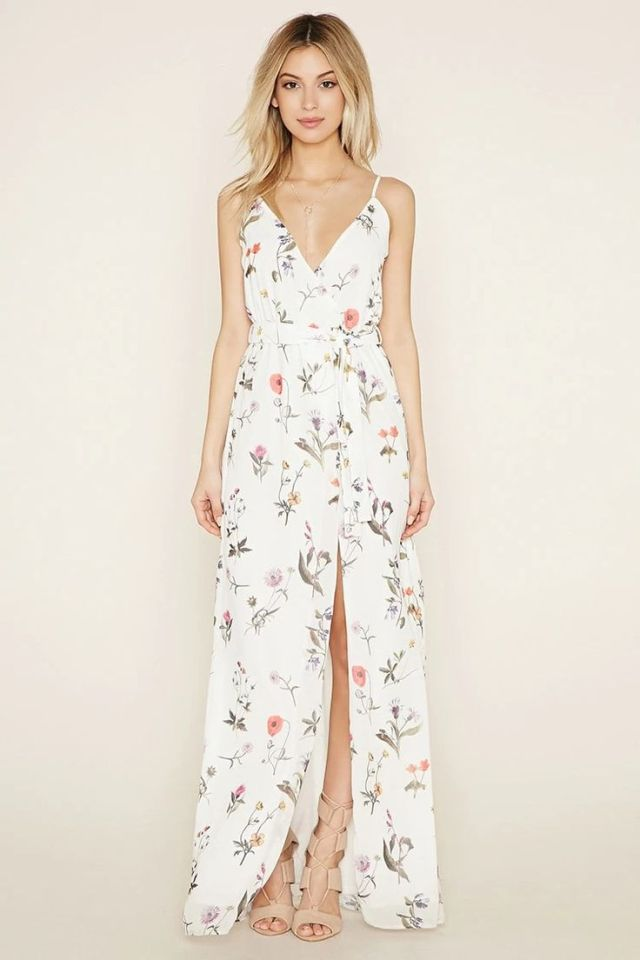 white maxi dress with floral pattern