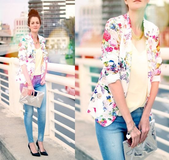 white blazer with floral pattern and light yellow tank top