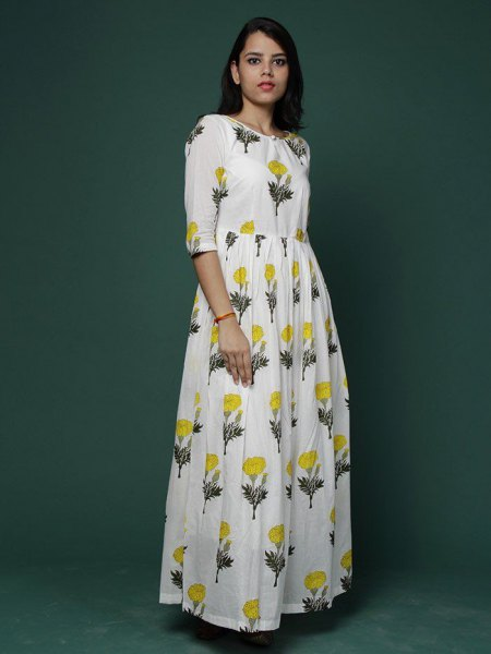 white floral printed maxi cotton dress with half sleeves