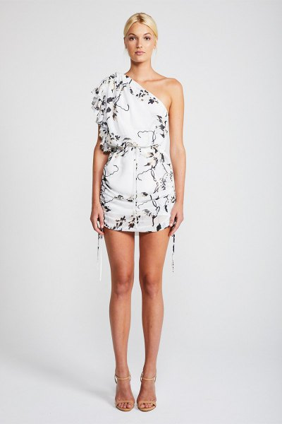 white, floral printed mini dress with one shoulder