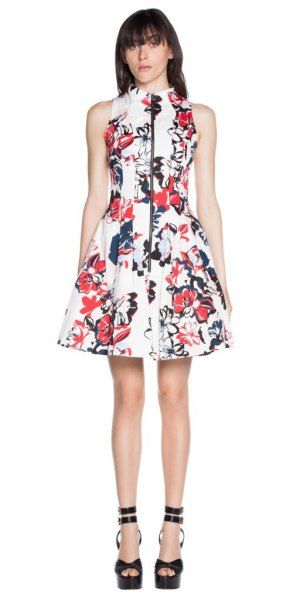 white flower skater dress