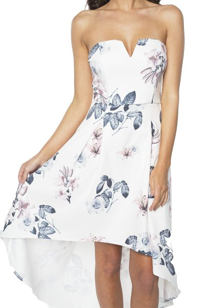 white strapless high low dress with floral pattern
