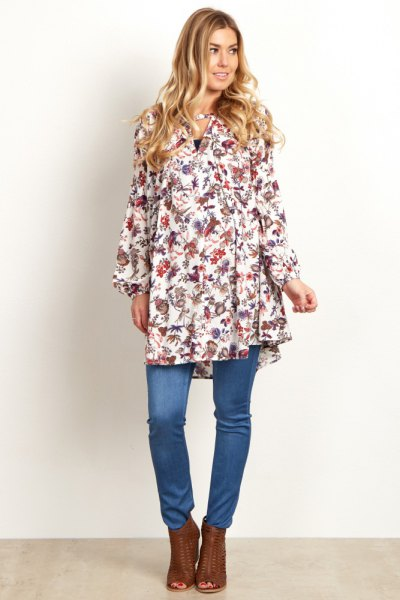 white floral tunic over jeans