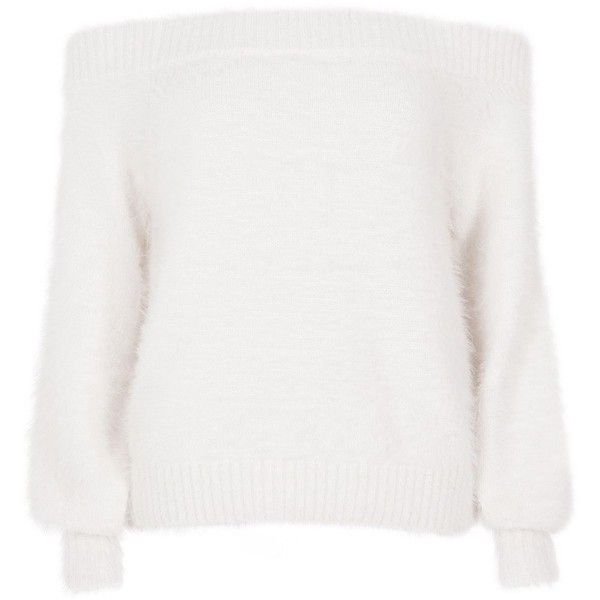 River Island White bardot fluffy knit sweater ($72) ❤ liked on .