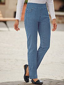 white figure-hugging high-rise jeans with straight legs