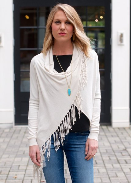 white t-jeans with white fringe wrap