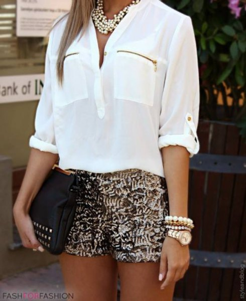 white chiffon shirt with front pocket, gold sequin shorts