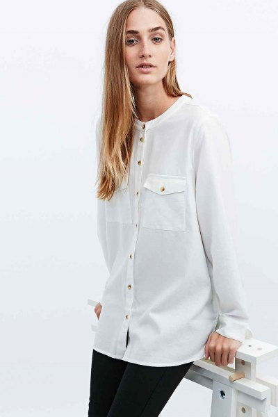 white shirt with grandad collar in the front pocket