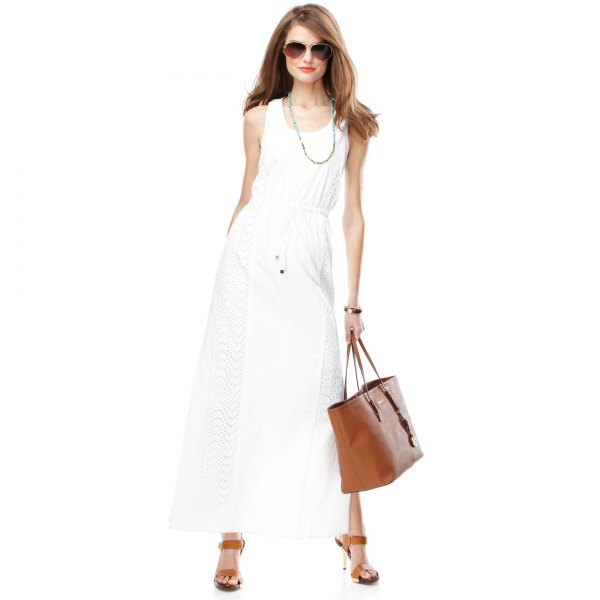 white ruched waist crochet maxi dress