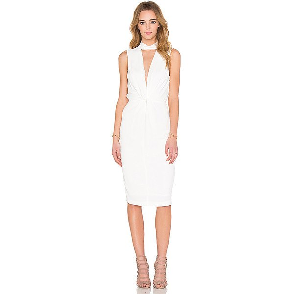 white, knee-length dress with a ruched waist