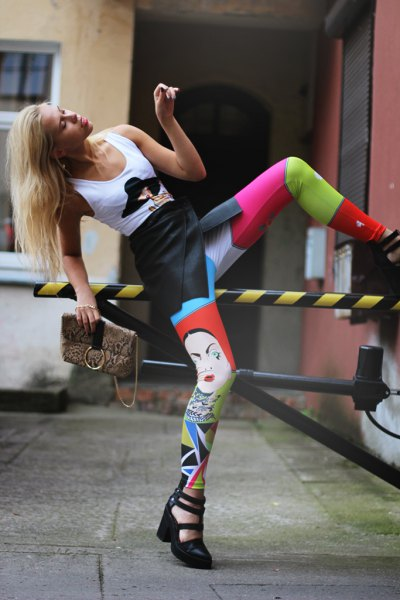 white graphic tank top with pink and red cute leggings