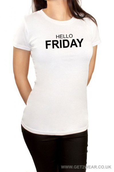 white graphic t-shirt with black skinny jeans