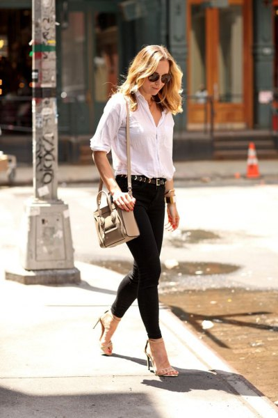 white shirt with half sleeves and black skinny jeans