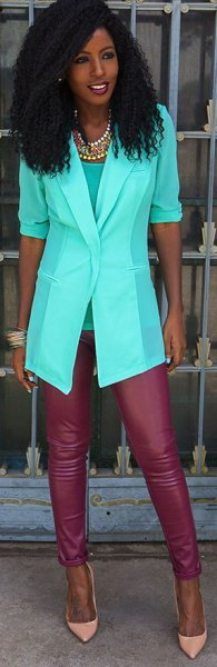 white chiffon blazers with half sleeves, red leather gaiters