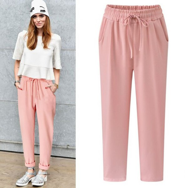 white chiffon top with half sleeves and light pink pants with elastic waist and cuff