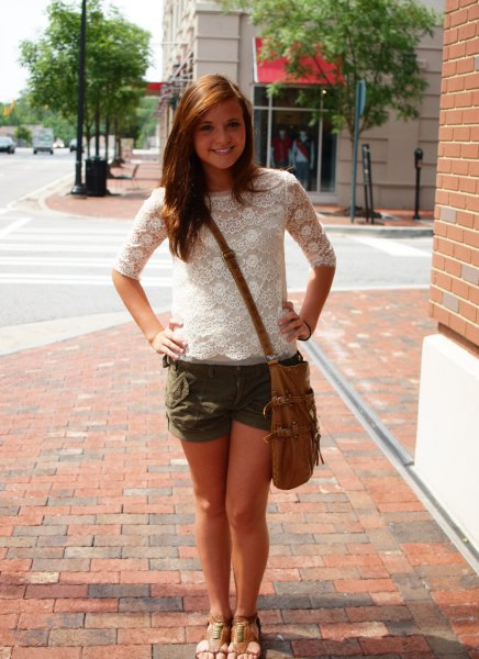 white lace blouse with half sleeves and flowing mini shorts