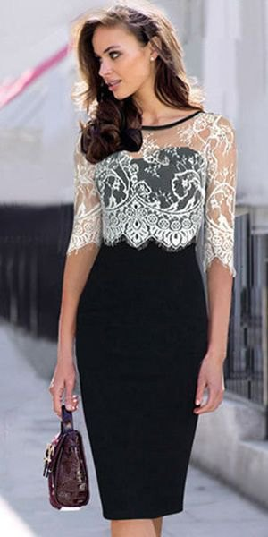 white lace top with half sleeves and a black, figure-hugging midi dress
