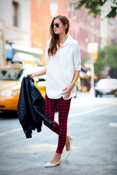 white shirt with half sleeves, black and red plaid legggings