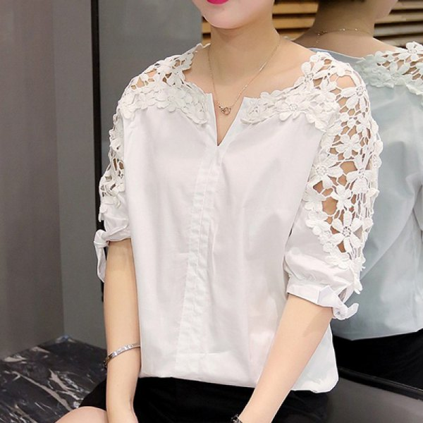 white shirt with half sleeves and floral lace sleeves