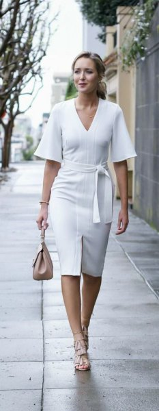 white midi dress tie waist v-neck midi dress