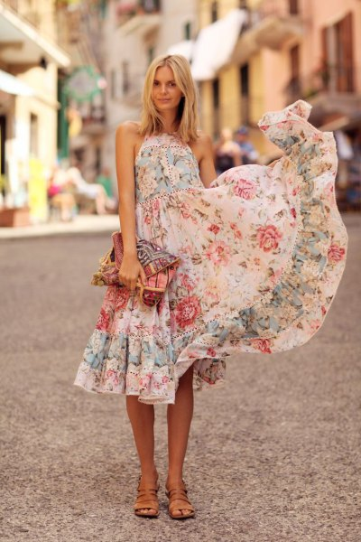white halter neck fit and flare midi ruffle flowers summer dress