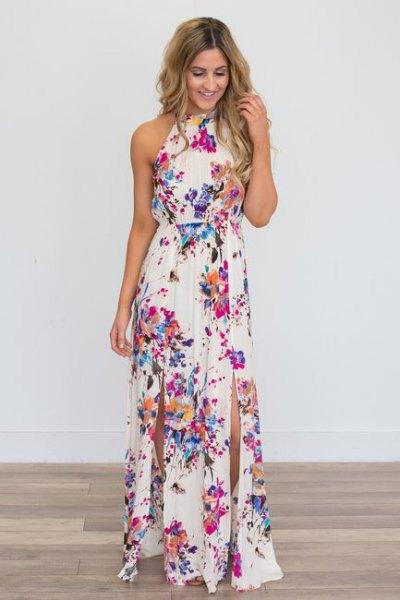 white halter ruched waist floral double slit dress