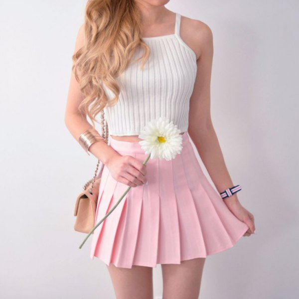 white halterneck knit top light pink pleated mini skirt