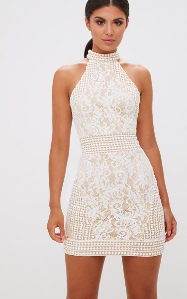 white halterneck crochet mini bodycon dress