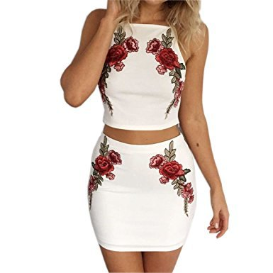 white halterneck dress with floral embroidery and two-piece dress