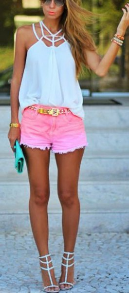 white halter top with pink mini shorts