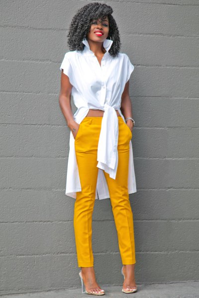 white high low blouse with mustard yellow trousers