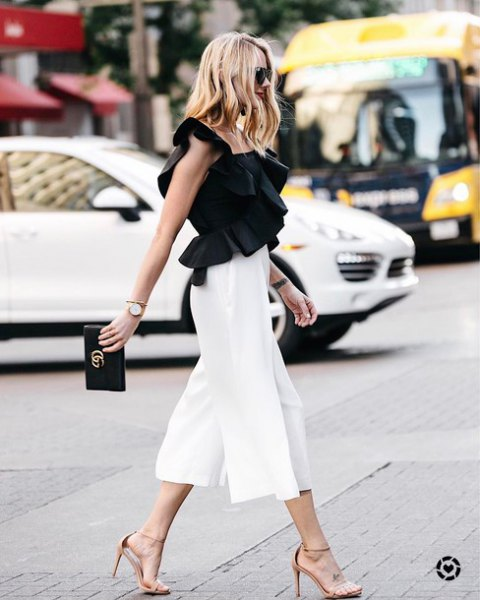 high-waisted white culottes